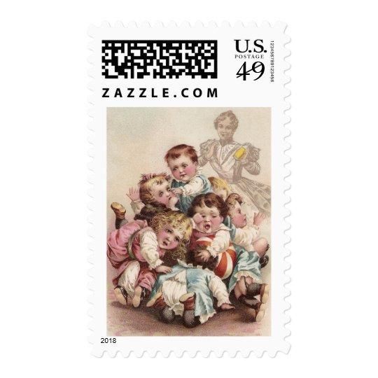 Nine Kids in a Pile Postage