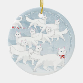 Nine Kitties Prancing... Ceramic Ornament