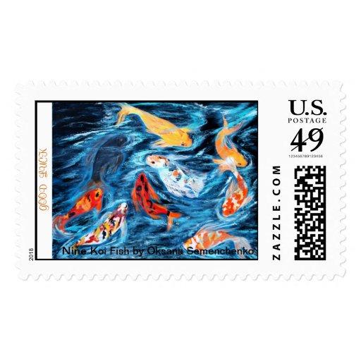 Nine koi fish good luck postage stamps zazzle for Koi fish good luck