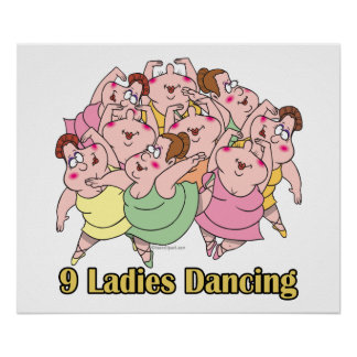 nine ladies dancing ninth 9th day of christmas poster