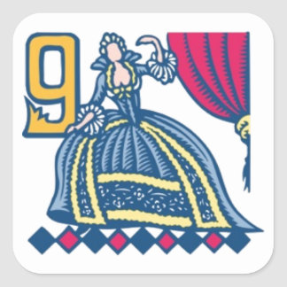 Nine Ladies Dancing Square Sticker