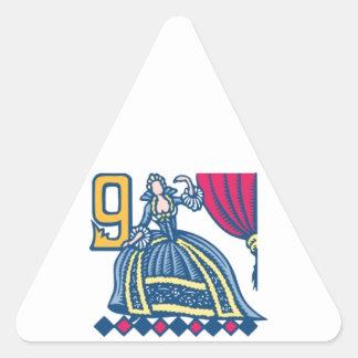 Nine Ladies Dancing Triangle Sticker