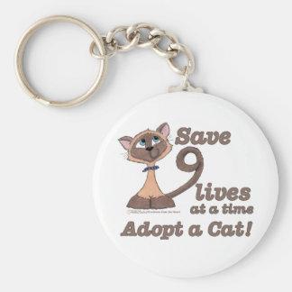 Nine Lives Basic Round Button Keychain