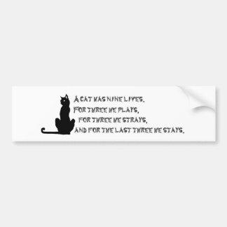 Nine Lives of a Cat Proverb Poem Pets Black White Bumper Sticker