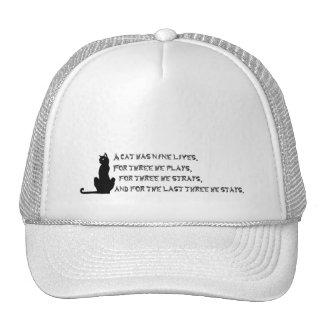 Nine Lives of a Cat Proverb Poem Pets Black White Mesh Hats