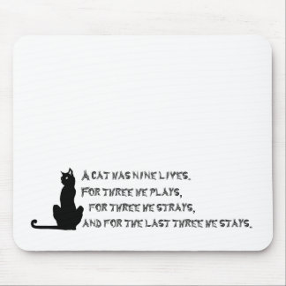 Nine Lives of a Cat Proverb Poem Pets Black White Mouse Pad
