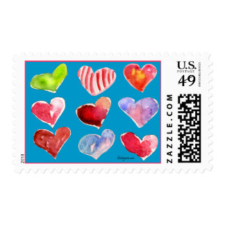 Nine Love Hearts on Blue Postage