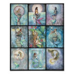 Nine Mermaids in One Poster by Molly Harrison