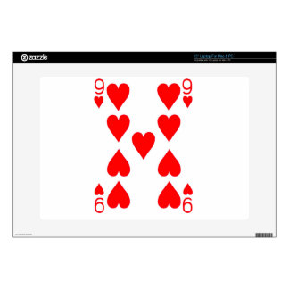 """Nine of Hearts Playing Card 15"""" Laptop Decal"""