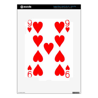 Nine of Hearts Playing Card Decal For iPad 3
