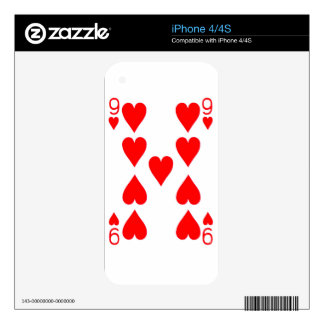 Nine of Hearts Playing Card Skin For The iPhone 4