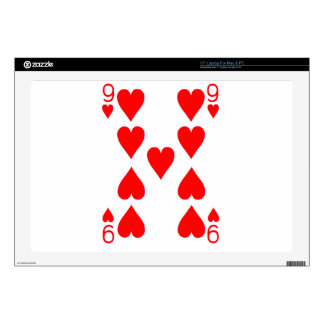 "Nine of Hearts Playing Card Skins For 17"" Laptops"