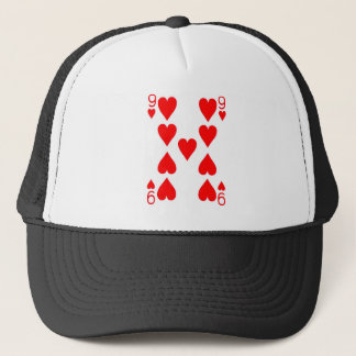 Nine of Hearts Playing Card Trucker Hat
