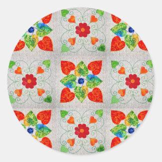 Nine Patch Quilt Sticker! Classic Round Sticker