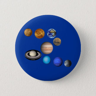 Nine Planets in the Solar System Pinback Button