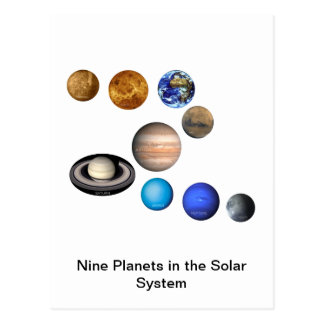 Nine Planets in the Solar System Postcard