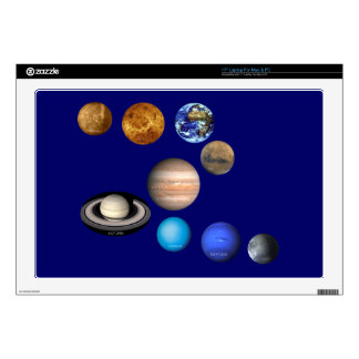 """Nine Planets in the Solar System Decals For 17"""" Laptops"""