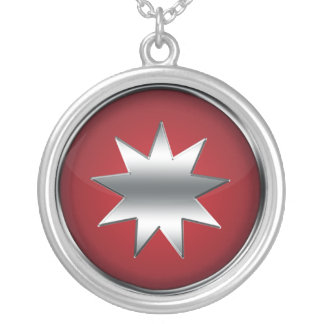 Nine Pointed Star Round Pendant Necklace