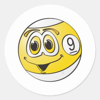 Nine Pool Ball Cartoon Classic Round Sticker