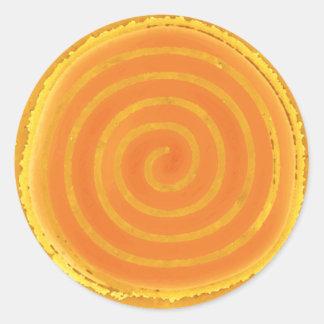 Nine Ray Yellow Spiral Sun Symbol Classic Round Sticker