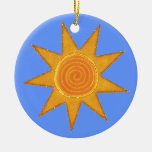 Nine Ray Yellow Spiral Sun Symbol Christmas Tree Ornaments