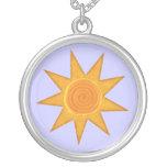 Nine Ray Yellow Spiral Sun Symbol Pendants