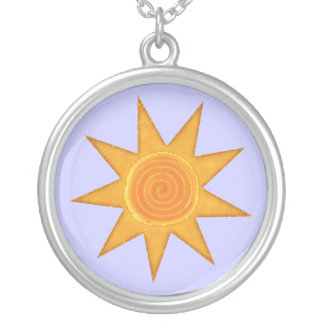 Nine Ray Yellow Spiral Sun Symbol Silver Plated Necklace