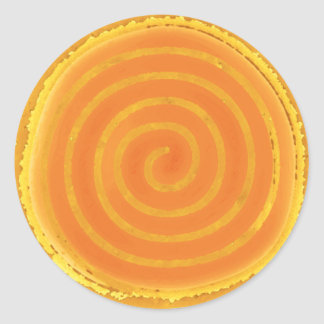 Nine Ray Yellow Spiral Sun Symbol Round Stickers