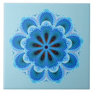 Nine Sided Blue Mandala Ceramic Tile