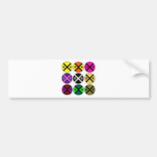 Nine Sign Colored Railroad Crossings Bumper Sticker
