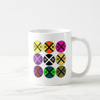 Nine Sign Colored Railroad Crossings Coffee Mug