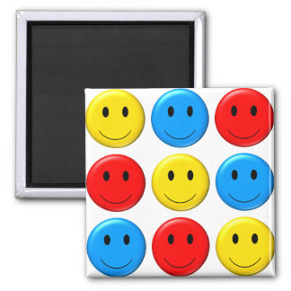 Nine Smileys - 9 on a magnet