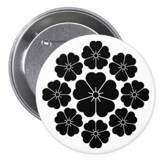 Nine stars-style cherry blossoms pinback button