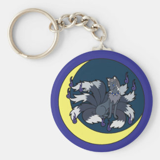Nine Tailed Silver Fox (Kitsune) Keychain
