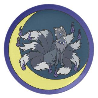 Nine Tailed Silver Fox (Kitsune) Dinner Plates