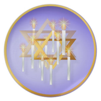 Nine White Candles and Star Plate