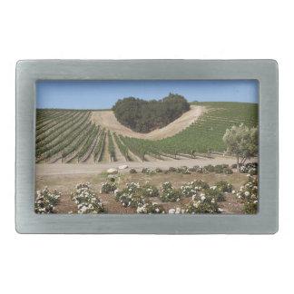Niner Estates Heart Hill and White Roses Rectangular Belt Buckle