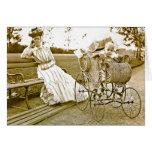 Niñera y bebé Notecard del vintage Tarjeta