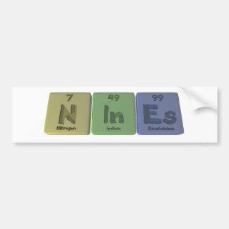 Nines-N-In-Es-Nitrogen-Indium-Einsteinium.png Pegatina De Parachoque