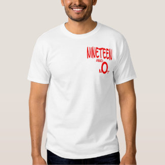 Nineteen and Not (red) T-Shirt - front and reverse