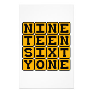 Nineteen Sixty One, Year 1961 Personalized Stationery