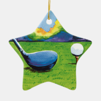 Nineteenth hole golf ornament. Double-Sided star ceramic christmas ornament