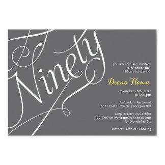 """""""NINETY"""" Milestone Birthday Invitation"""