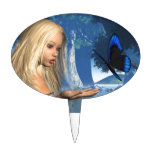 Ninfa azul de la mariposa y de agua - 2 figura de tarta