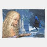 Ninfa azul de la mariposa y de agua - 2 toallas de cocina