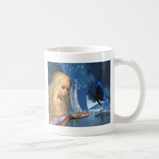 Ninfa azul de la mariposa y de agua - 2 tazas de café