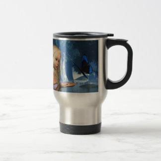 Ninfa azul de la mariposa y de agua - 2 taza de viaje de acero inoxidable