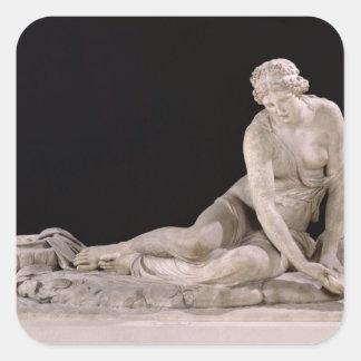 Ninfa con Shell, 1683-85 Pegatina Cuadrada