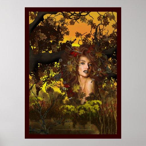 Ninfa de madera del otoño poster