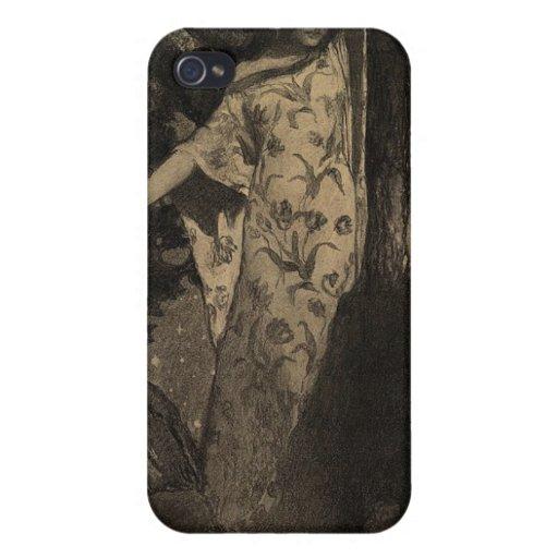Ninfa de madera - sepia iPhone 4 protectores